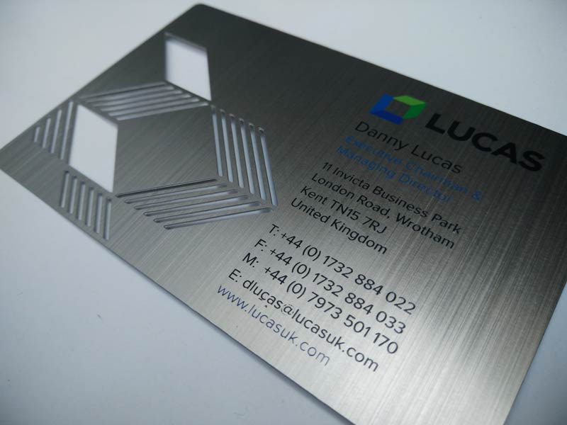 Stainless Brushed Metal Business Cards – 13th Element